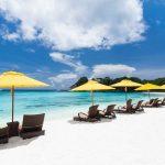paradijselijk strand met strandbedjes